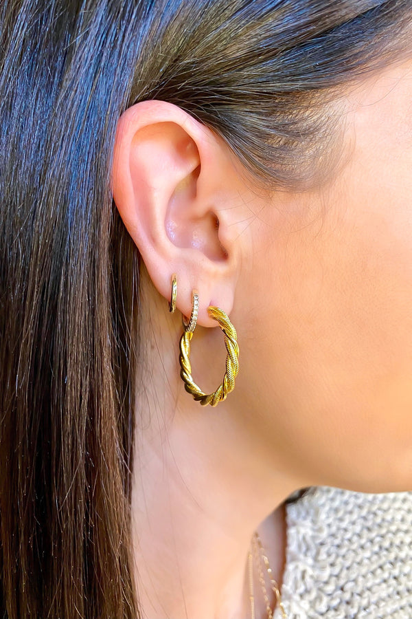 Gold Crowning Achievement Twist Detail Hoop Earrings - Madison and Mallory