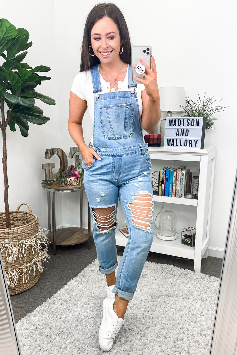 Jordan Distressed Boyfriend Overalls - Madison and Mallory
