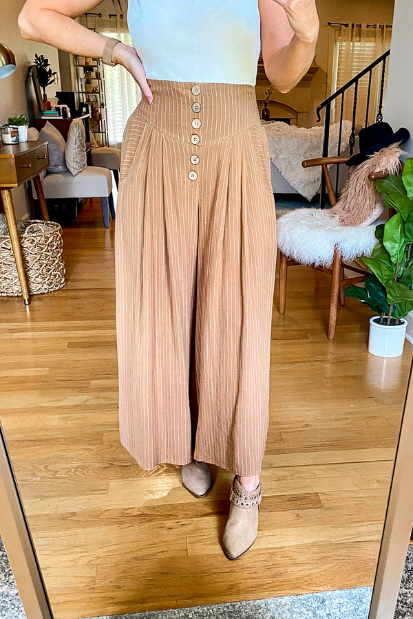 S / Camel Rico Striped Wide Leg Pants - Madison and Mallory