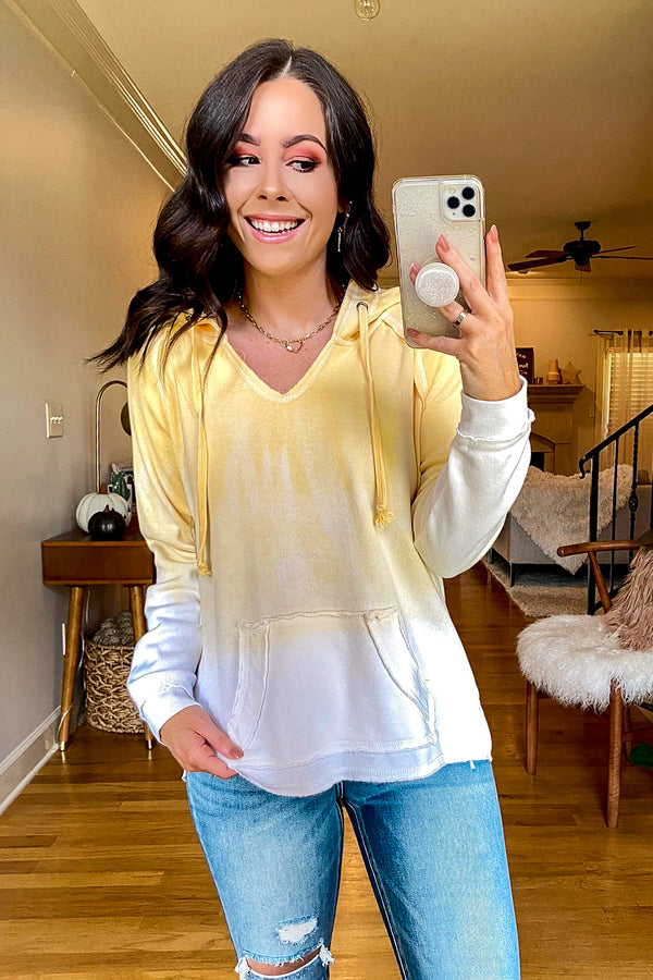 Butter / S Sunset Dream Dip Tie Dye Hoodie Top - FINAL SALE - Madison and Mallory