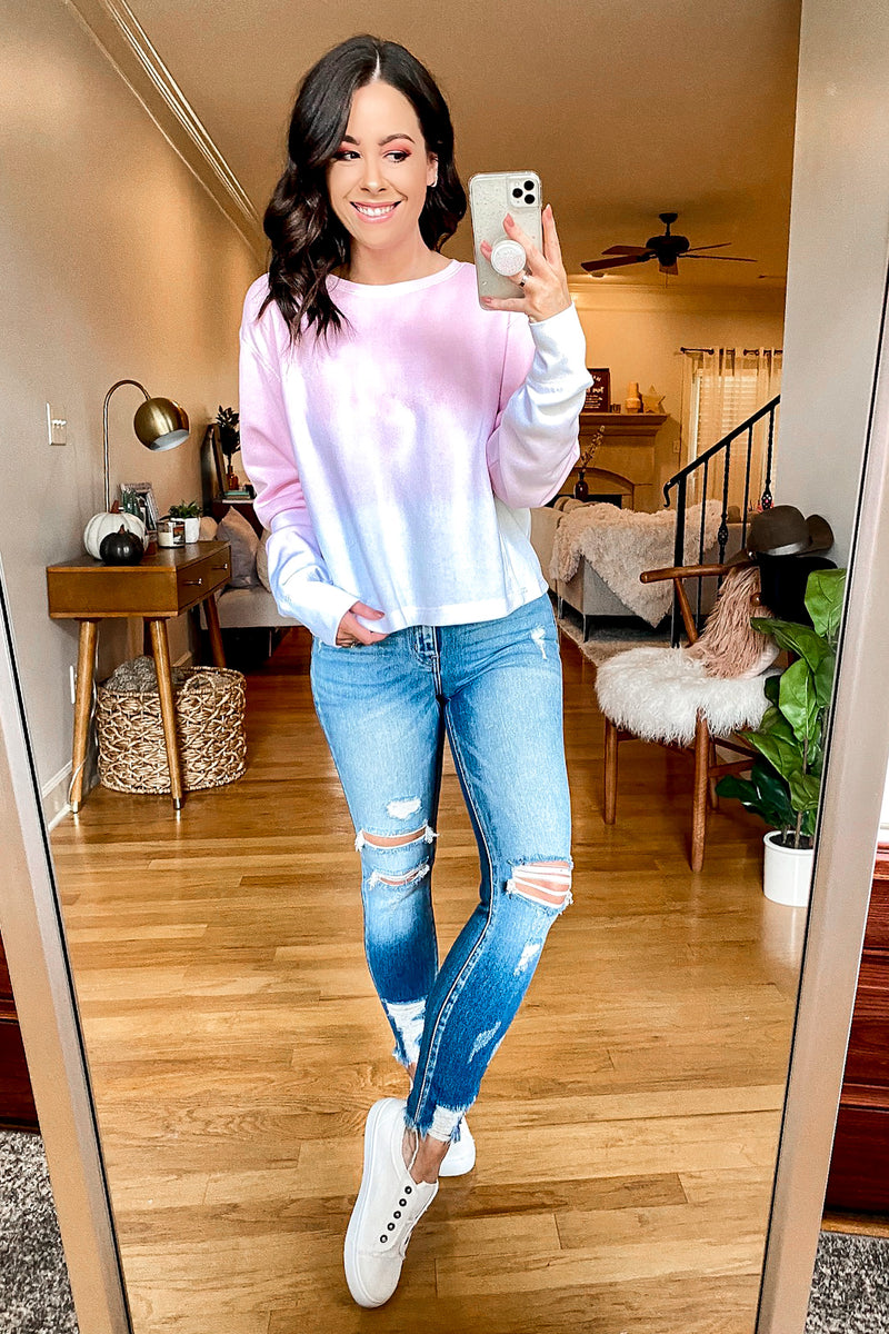 Fade into You Tie Dye Crewneck Pullover - Madison and Mallory