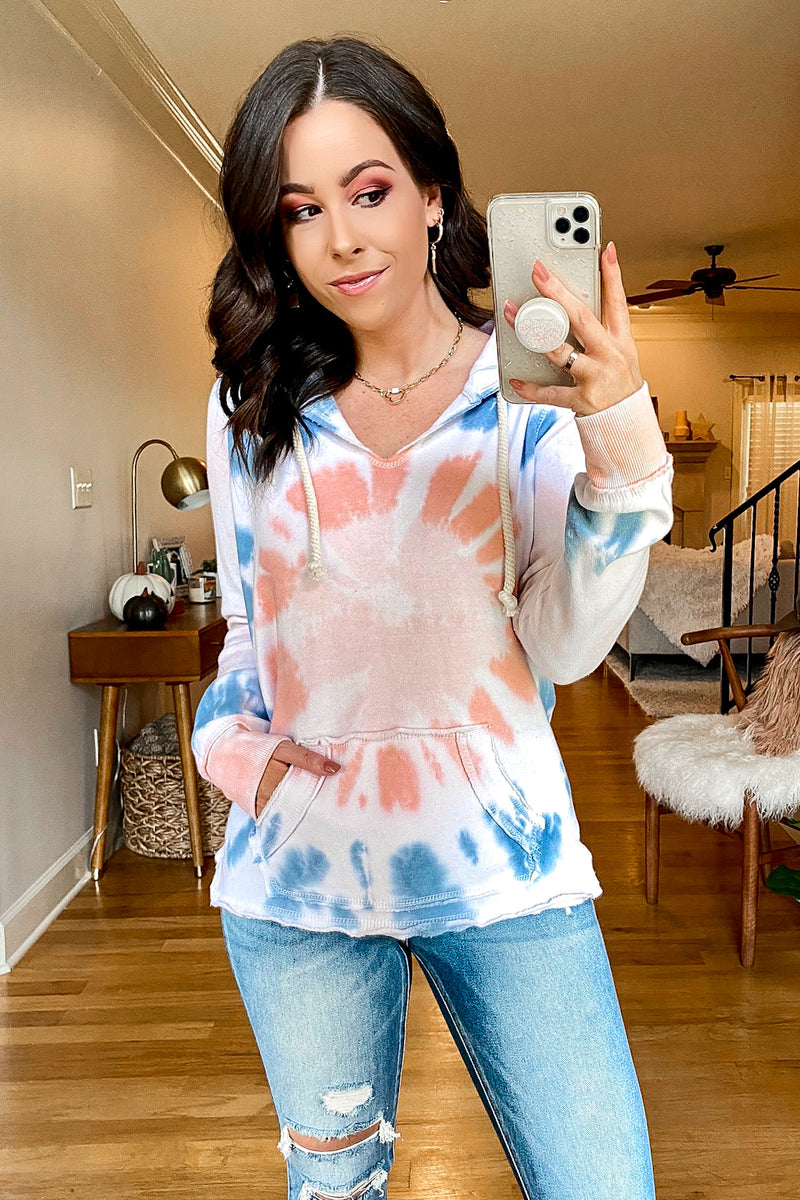 Flamingo / S Lolli Tie Dye Hoodie Top - Madison and Mallory