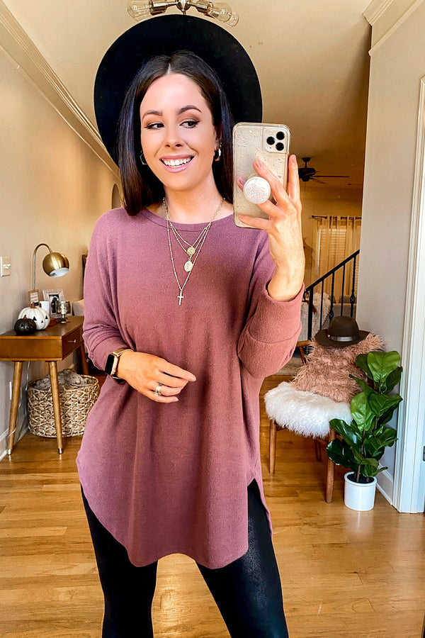 S / Dark Mauve Katara Relaxed Soft Knit Tunic Top - Madison and Mallory