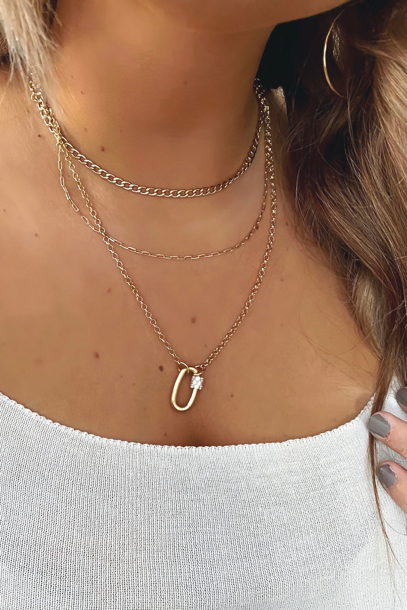 Gold Locke Layered Chain Pendant Necklace - Madison and Mallory