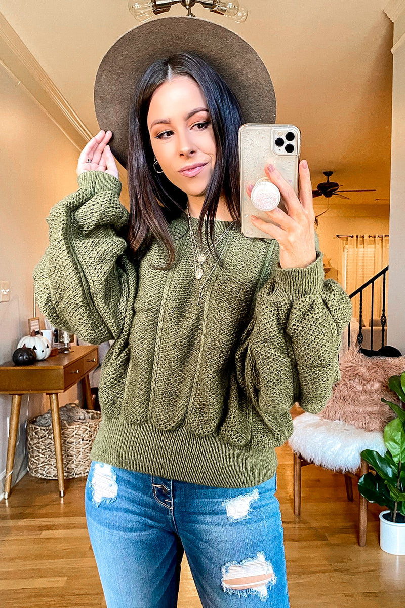 Moss / S Late Night Talks Ruched Knit Sweater - Madison and Mallory