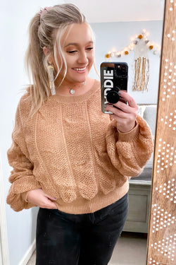 Natural / S Late Night Talks Ruched Knit Sweater - Madison and Mallory
