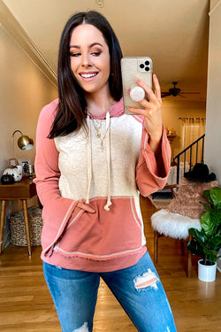 S / Rose Ledah Color Block Hoodie - Madison and Mallory