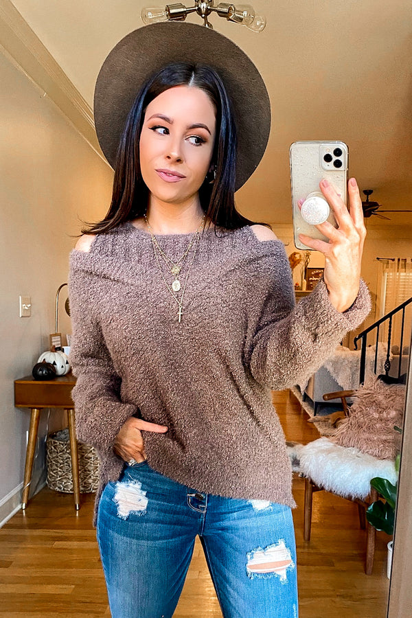 Mocha / S Norlina Cold Shoulder Knit Sweater - Madison and Mallory