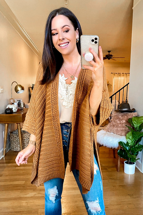 Camel / OS Kaysville Ribbed Knit Poncho - Madison and Mallory