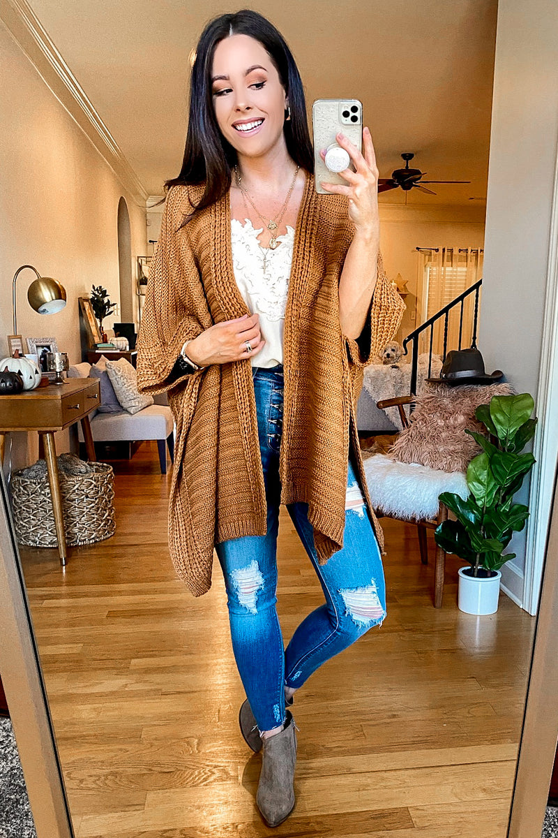 Kaysville Ribbed Knit Poncho - Madison and Mallory
