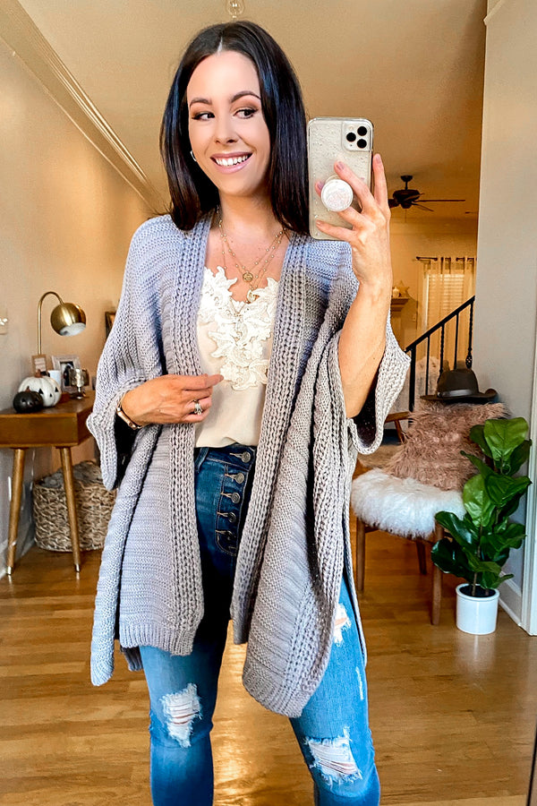 Gray / OS Kaysville Ribbed Knit Poncho - Madison and Mallory