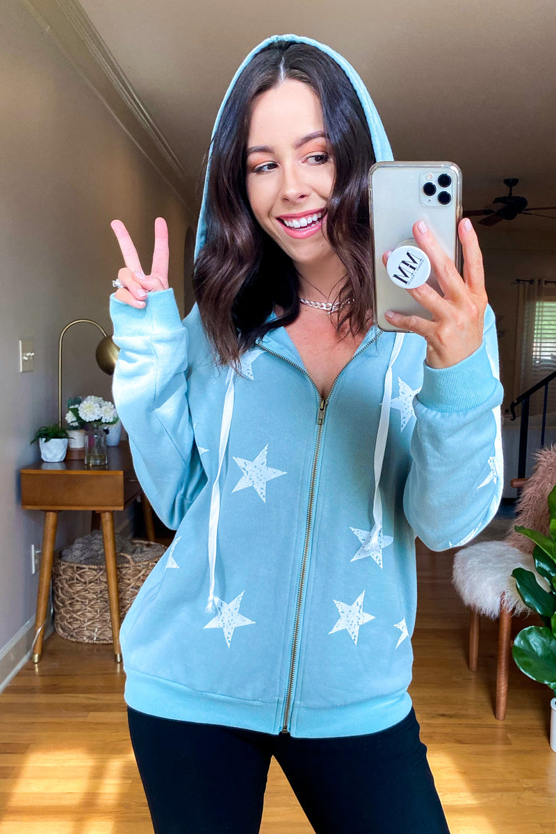 S / Dusty Mint Magic Star Hooded Zip Sweatshirt - FINAL SALE - Madison and Mallory