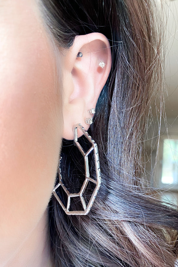 Silver Aesthetically Inclined Geometric Hoops - Madison and Mallory