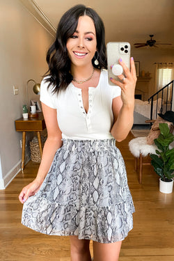 S / Gray Apex Ruffled Snake Skirt - Madison and Mallory