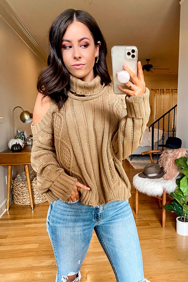 Khaki / SM Laryssa Cold Shoulder Cable Knit Sweater - Madison and Mallory