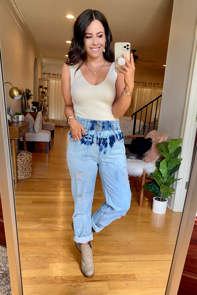 Soft Focus Tie Dye Boyfriend Jeans - Madison and Mallory