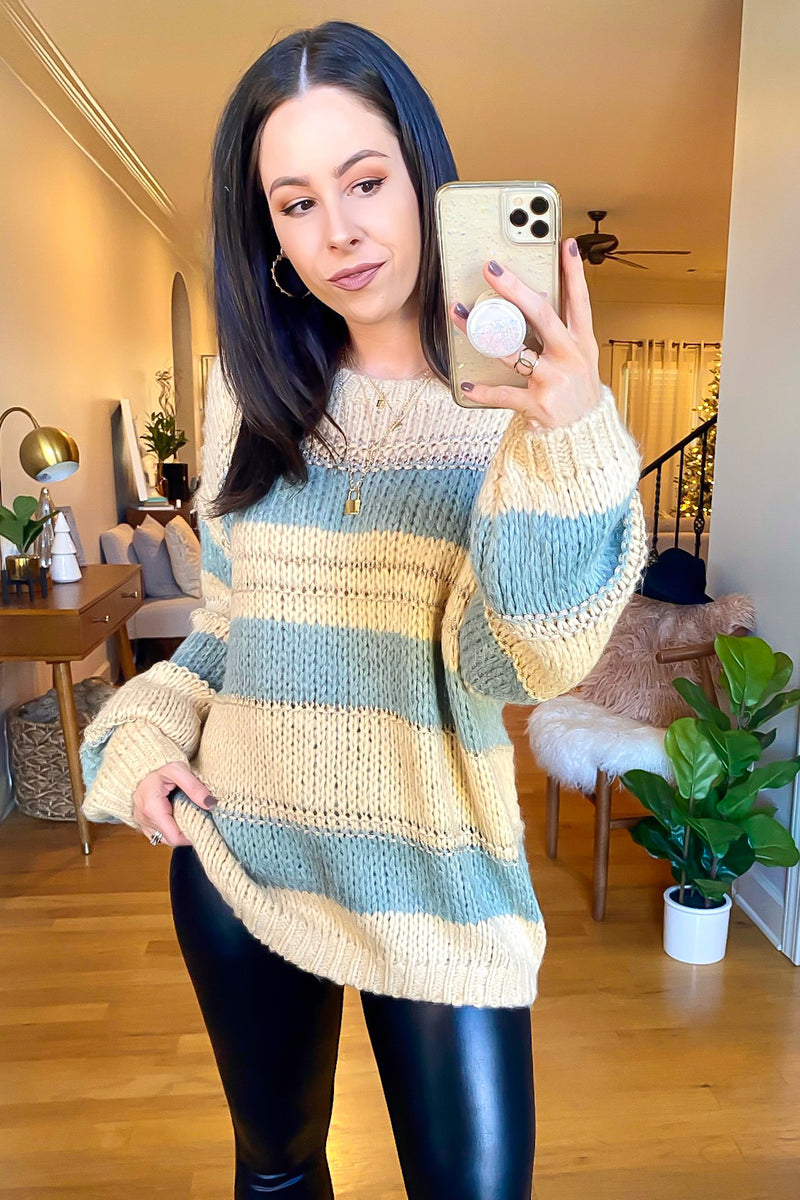 S / Beige Sayner Relaxed Striped Knit Sweater - Madison and Mallory