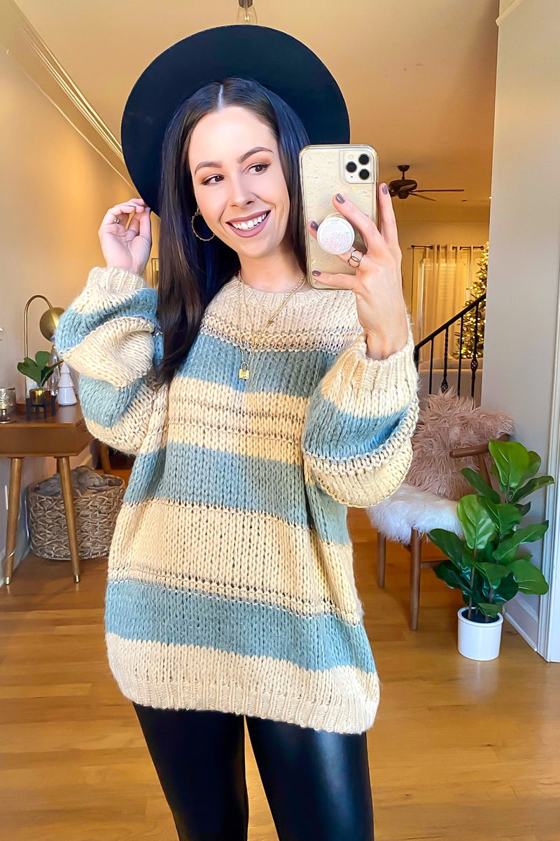 Sayner Relaxed Striped Knit Sweater - Madison and Mallory