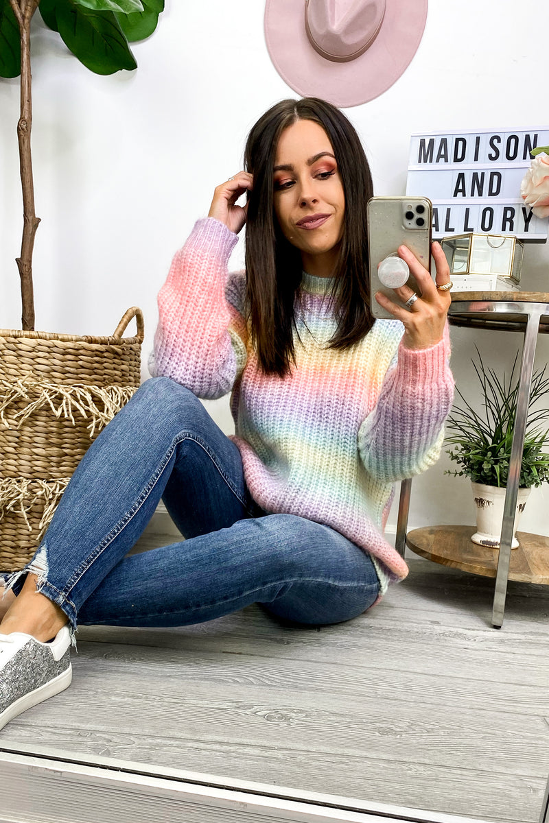 Got a Good Feeling Rainbow Striped Sweater - Madison and Mallory