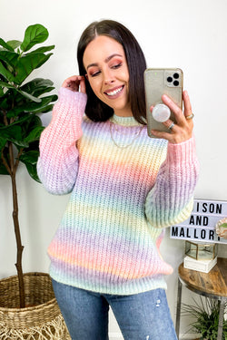 S / Lavender Multi Got a Good Feeling Rainbow Striped Sweater - Madison and Mallory