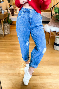 Dark Denim / S Lynden Relaxed Fit Distressed Jeans - Madison and Mallory