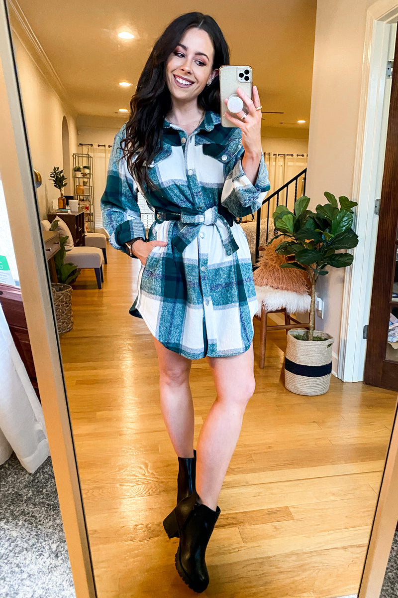 Good or Plaid Button Down Tunic Dress - Madison and Mallory