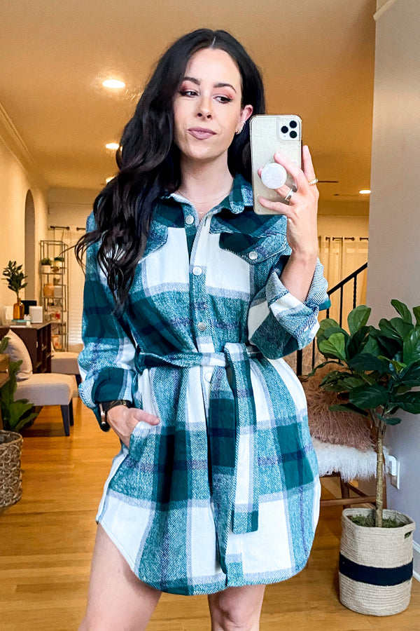 S / Hunter Green Good or Plaid Button Down Tunic Dress - Madison and Mallory