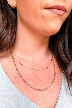 Gold There is Love Cross Charm Layered Necklace - Madison and Mallory