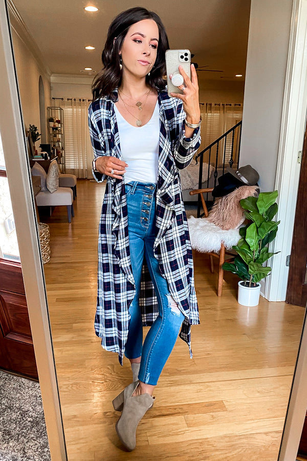 S / Navy In a Rush Plaid Cascade Shirt Jacket - Madison and Mallory