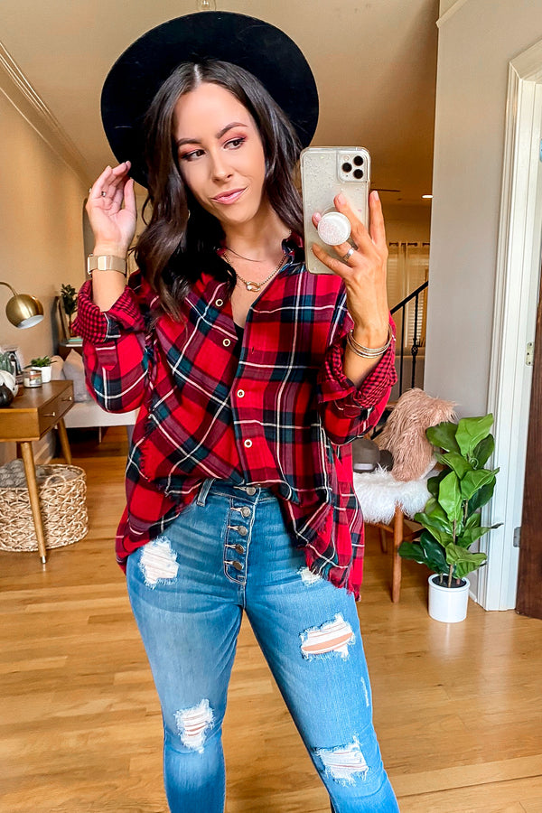 Burgundy / S Jaylyn Frayed Plaid Top - Madison and Mallory