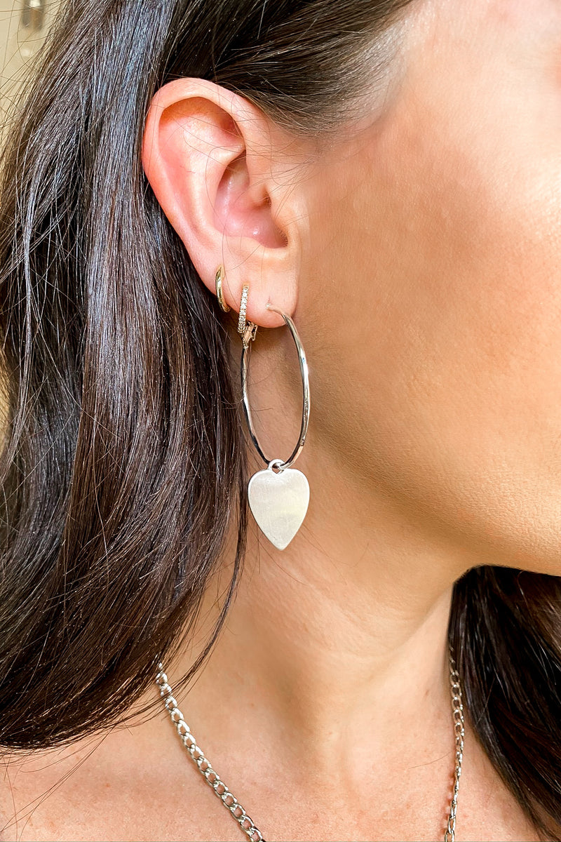 Silver Perfect Crush Heart Charm Hoop Earrings - Madison and Mallory