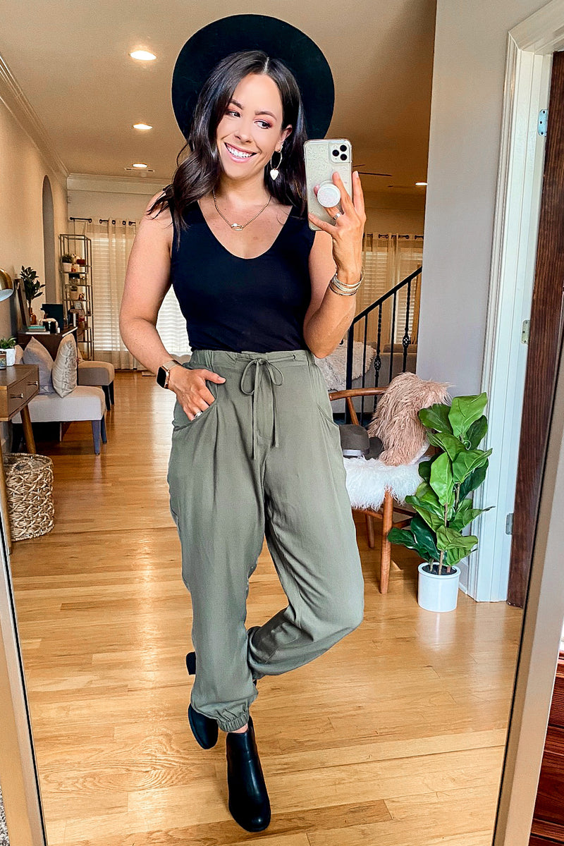 Great Adventure Draped Jogger Pants - Madison and Mallory
