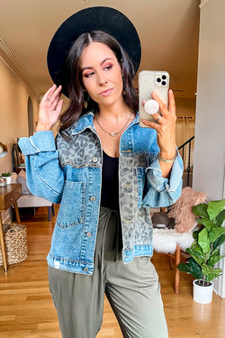 S / Denim Cool Again Animal Print Contrast Denim Jacket - Madison and Mallory