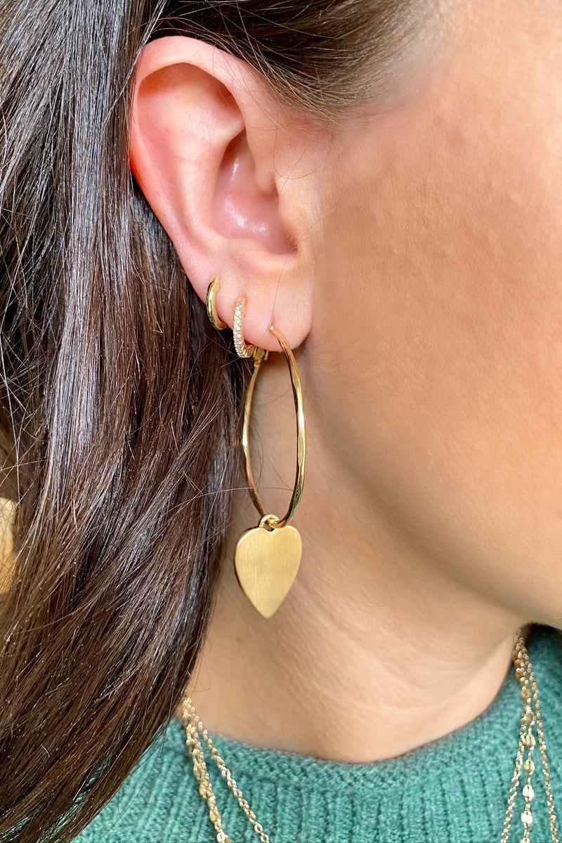 Gold Perfect Crush Heart Charm Hoop Earrings - Madison and Mallory