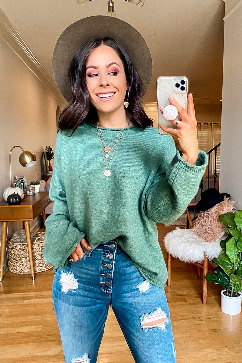 Green / SM Tavares Wide Neck Knit Sweater - Madison and Mallory