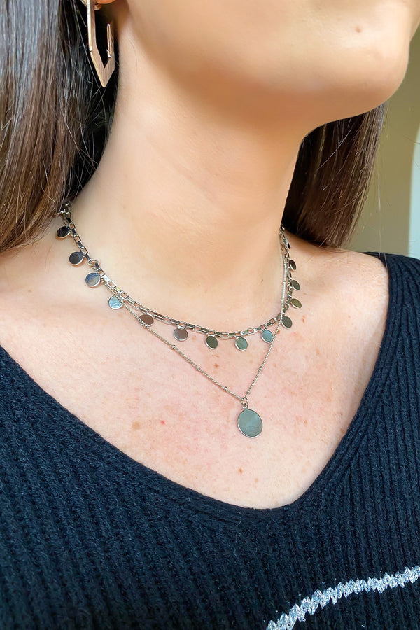 Silver Here to There Coin Layered Necklace - Madison and Mallory