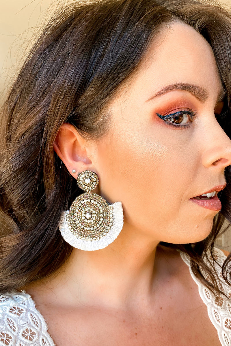 Ivory Lively Beaded Accent Earrings - Ivory - Madison and Mallory