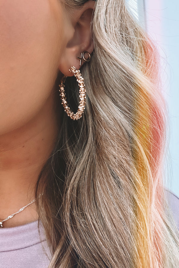Gold Cypher Accented Hoop Earrings - Madison and Mallory