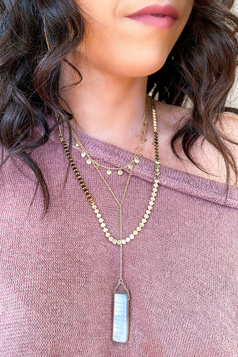 Gold Peaceful Moments Stone Layered Necklace - Madison and Mallory
