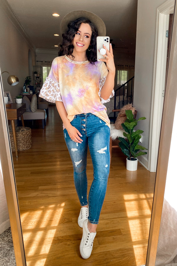 Kinship Tie Dye Animal Print Ruffle Sleeve Top - FINAL SALE - Madison and Mallory