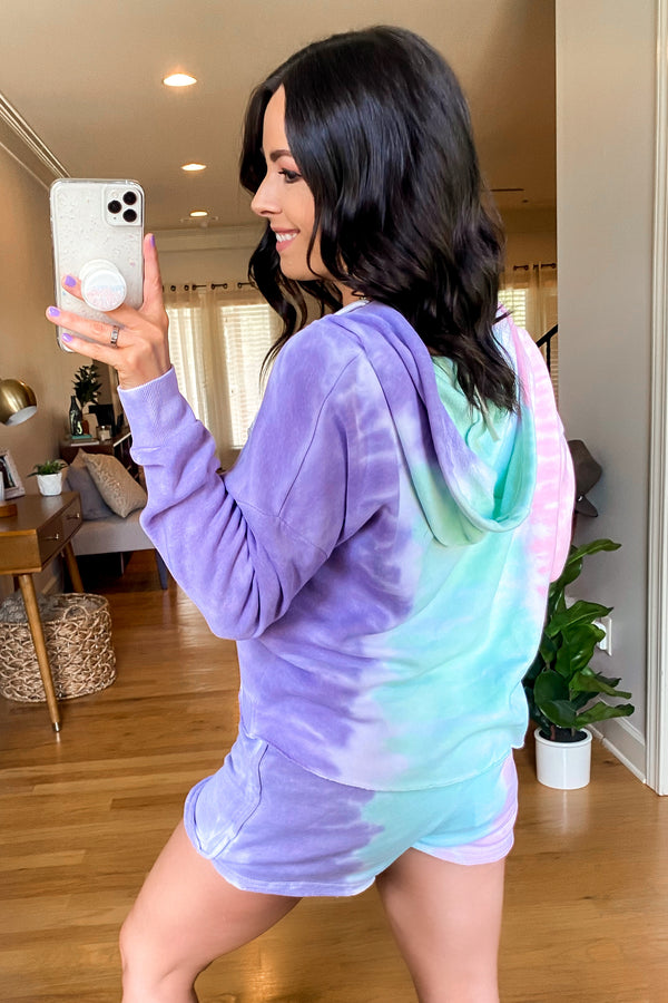 Backflip Tri-Color Tie Dye Cropped Hoodie - FINAL SALE - Madison and Mallory