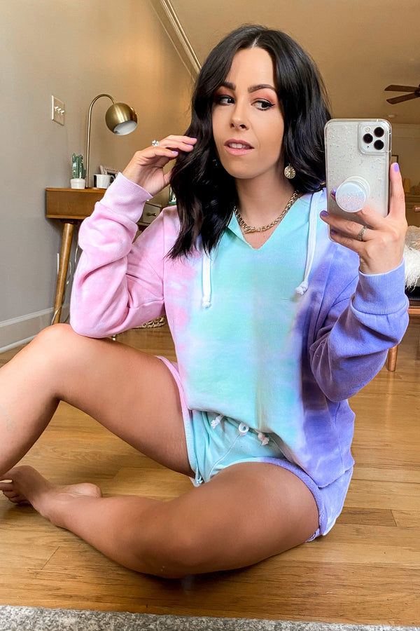 Backflip Tri-Color Tie Dye Cropped Hoodie - Madison and Mallory