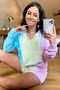 Coral / S Backflip Tri-Color Tie Dye Cropped Hoodie - FINAL SALE - Madison and Mallory