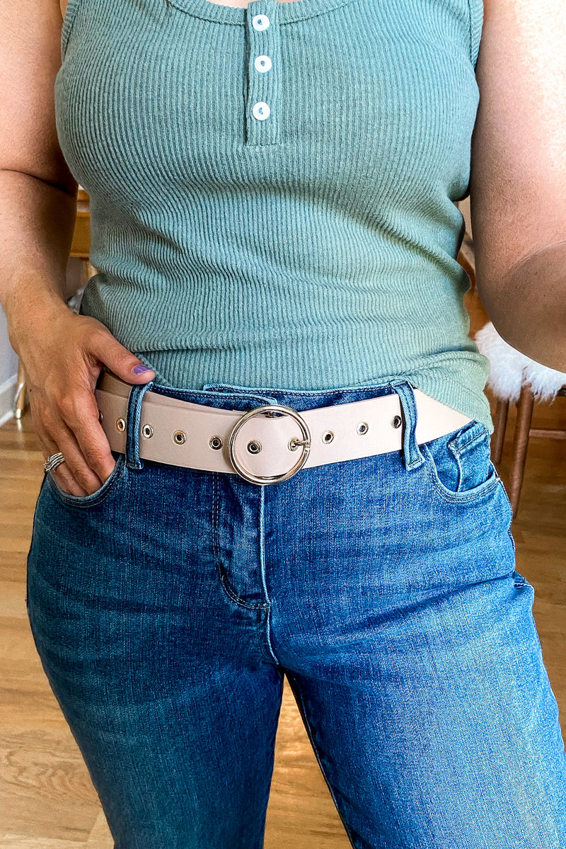 Taupe / OS Round Up Circle Buckle Belt - Madison and Mallory