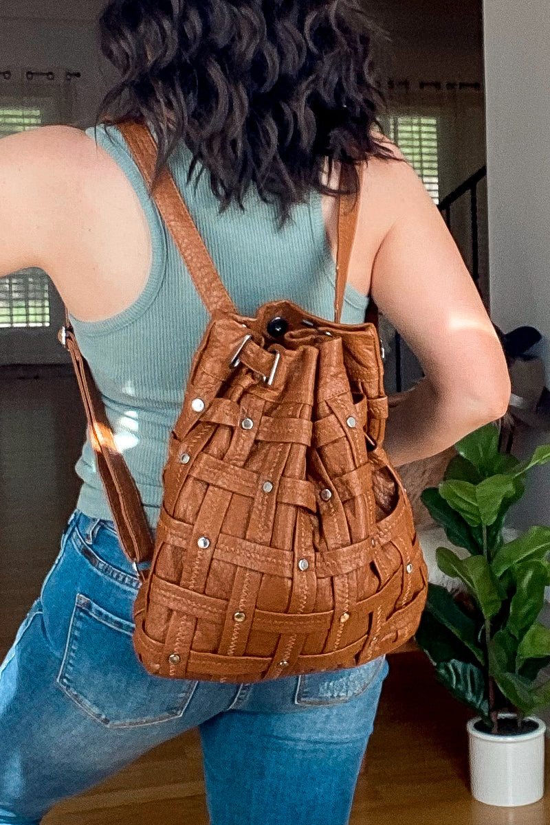Kenan Faux Leather Woven Backpack - Madison and Mallory