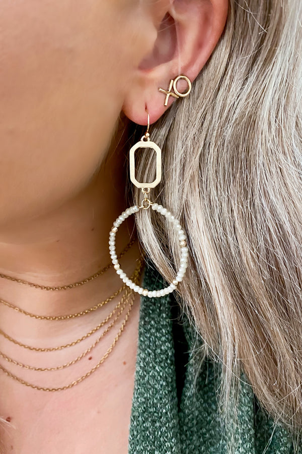 Ivory Jazz Age Beaded Circle Hoop Earrings - Madison and Mallory