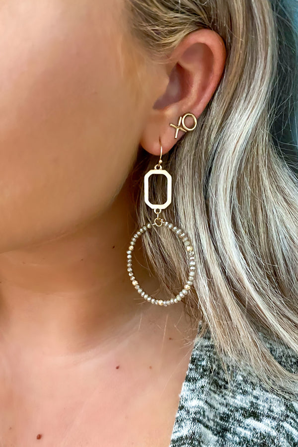 Hematite Jazz Age Beaded Circle Hoop Earrings - Madison and Mallory