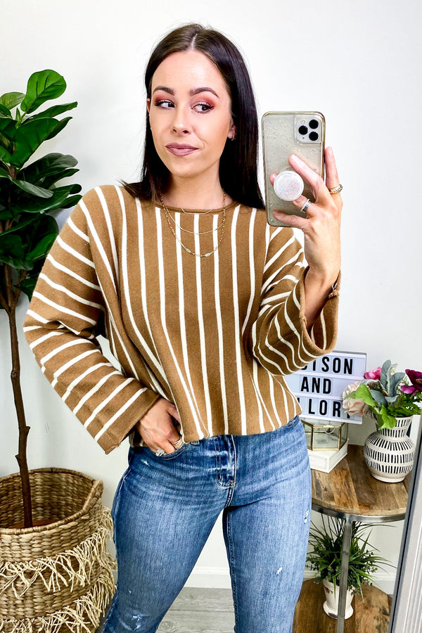 OS / Mocha Sayre Striped Knit Top - Madison and Mallory
