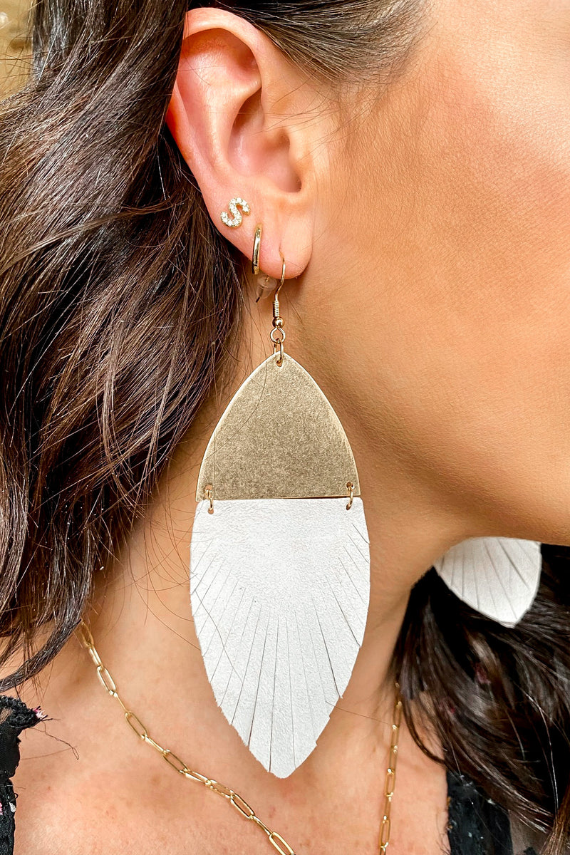 Riordan Faux Leather Drop Accent Earrings - Madison and Mallory