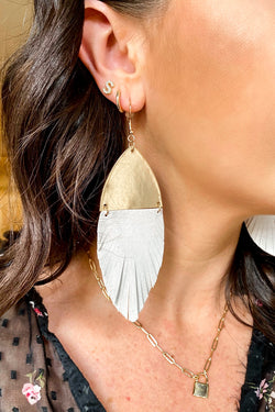 White Riordan Faux Leather Drop Accent Earrings - Madison and Mallory